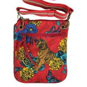 Karma Red Purse with Tiger Pattern